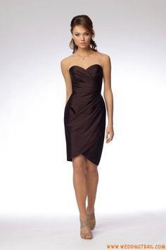 Simple Cheap Sweetheart Brown Taffeta Short Bridesmaid Dresses