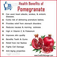 Health Benefits of Pomegranate #health #nature For More: www.livealittlelonger.com