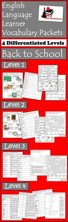 Free Differentiated ESL Vocabulary Packet - 4 differentiated levels to teach students vocabulary related to items and people students will need during a school day.