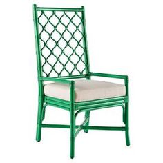 Ambrose Rattan Arm Chair in Parsley Green