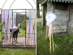 I don't even have a trellis, but I want to have a party with a trellis and ribbon...