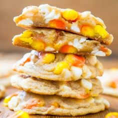 Candy Corn & White Chocolate Softbatch Cookies - Baking candy corn into supremely soft cookies is way more fun than just eating it plain!
