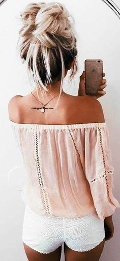 summer outfits Blush Off The Shoulder Top White Short