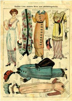 Antique paper dolls --- the Downton Abbey look.this would make a neat framed art piece.lovely as a series Old Paper, Paper Art, Paper Crafts, Vintage Paper Dolls, Antique Dolls, Retro, Art Origami, Paper Dolls Printable, Paper People