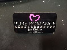 "Each bling Pure Romance name tag uses Swarovski crystals. Their superior clarity gives you the maximum ""bling"" even in low light compared to knock off glass crystals. Each bling Pure Romance name tag has a gloss finish and is heat set into 1/8″ hardboard to ensure quality & endurance."