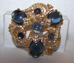 Vintage Signed Hattie Carnegie Blue Cabachone Clear Gold Rhinestone Brooch