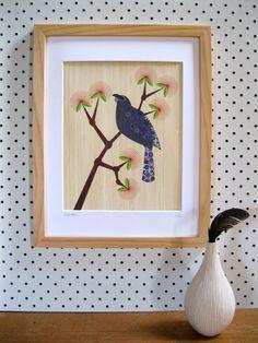 Native NZ Kokako Print on Bamboo Veneer | Felt