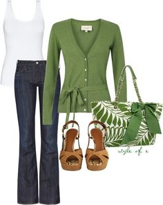 Green, created by styleofe on Polyvore