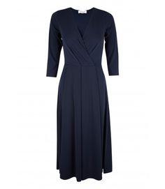 Closet Navy V-Neck 3/4 Sleeve Midi Dress - Dresses - Clothing