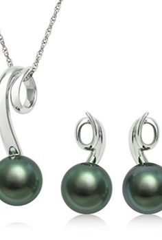 MOTHER'S DAY STERLING SILVER CULTURED TAHITIAN BLACK PEARL PENDANT NECKLACE AND EARRING SET, 18″