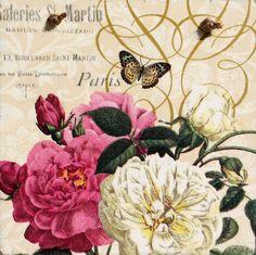 Handmade,Shabby Chic Unique Picture Plaque With Decoupage.Vintage, Retro Flowers