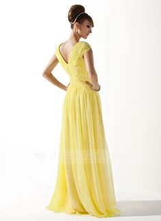 A-Line/Princess V-neck Floor-Length Ruffle Beading Zipper Up at Side Cap Straps Sleeveless No Other Colors Spring Summer Fall General Chiffon Prom Dress