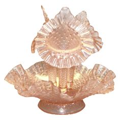 Fenton French Diamond Lace Pink Opalescent Glass Epergne - Marked from theantiquechasers on Ruby Lane
