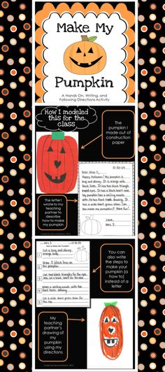 Make My Pumpkin - A Hands On Writing Activity for Grades 1-3.  Perfect for fall or Halloween.  Students use their descriptive writing skills to describe a pumpkin that they created in hopes of a partner being able to recreate the pumpkin by reading what they wrote.