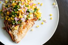 Yellowtail Snapper with Corn Salsa by bitchincamero, via Flickr