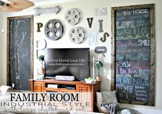 industrial style family room gallery wall with chalkboard art, home decor, wall decor Gallery Wall Frames, Frames On Wall, Gallery Walls, Wooden Frames, Decor Around Tv, Family Room Walls, Driven By Decor, Framed Chalkboard, First Home