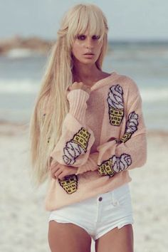 Wildfox Couture Soft Serve Holiday Sweater in Peaches | shopthetrendboutique
