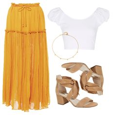 - Enjoy spirited bevviesoutdoors in a floaty pleated midi skirt. Pair it with a cropped puffed sleeve top for a relaxed boho look. Complete with block-heel sandals and a dainty gold choker.