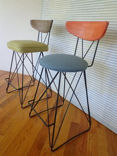 "Mid Century Iron Barstool, Bar Height 33"" Custom For Sandy"