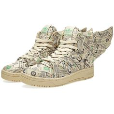 Adidas Footwear Adidas ObyO x Jeremy Scott Wings 2.0 Money ($115) ❤ liked on Polyvore featuring men's fashion, men's shoes, men's sneakers, sneakers, adidas mens shoes, mens lace up shoes, adidas mens sneakers, mens woven shoes and mens leopard print shoes