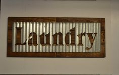 Laundry Room Sign Corrugated Metal Reclaimed by EllaMurphyDesigns