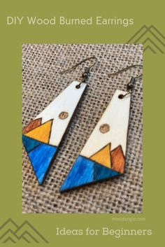 Wood Burning Crafts, Wood Burning Art, Wood Crafts, Diy And Crafts, Make Your Own Jewelry, Jewelry Making, Earring Crafts, Wood Patterns, Woodburning