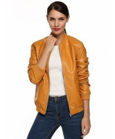 Yellow Zipper Leather Jacket