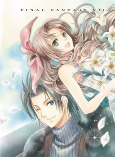 ff7 zack aerith Final Fantasy Art, Anime, Ships, Friends, Girls, Flowers, Amigos, Boats, Boating