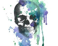 """Vintage Watercolor Skull Temporary Tattoo - """"The Grass Grows Gangreener"""""""