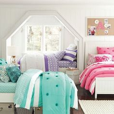 Crinkle Puff Quilt + Sham, Pool #pbteen Girls room. One link one aqua