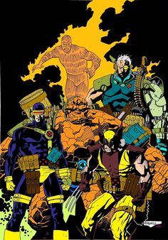 X-Men & Fantastic Four (Cyclops, Wolverine, Cable, The Thing & Human Torch) by Mike Mignola Comic Book Artists, Comic Book Characters, Marvel Characters, Comic Artist, Comic Character, Comic Books Art, Character Design, Character Concept, Marvel Comics