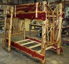 Cedar log bunk bed by Robert R. Norman and woodzy.org  rustic furniture