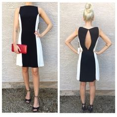 """•Colorblock flare dress• •Beautiful staple piece for any woman's wardrobe• Crew neck• Sleeveless• Keyhole back with button closure• Back hidden zip closure• Contrast side panels• Lined• Approx. 34"""" length• Black & cream• BB Dakota Dresses"""
