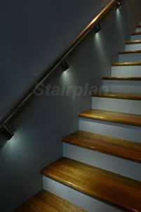 Stairways Lighting Ideas, Led Light Strips On Stairway – staircase Wall Mounted Handrail, Stair Handrail, Railings, Handrail Brackets, Stairway Lighting, Garage Lighting, Rope Lighting, Up House, House Stairs