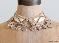 Vintage Beaded Collar : Pearl Beads Sweater Collar Beaded (I thought you might like this Raiven) Kurti Neck, Beaded Collar, 1960s Fashion, Pearl Beads, Couture, Crochet Necklace, Embroidery, Pearls, Bibs