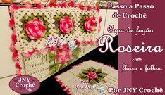 PAP Capa de fogão 4 bocas de crochê Roseira por JNY Crochê