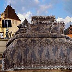 impacto broca cama sobreposta edredom marrom conjunto de Consolador seda folha de cama quente e macia para 4pcs casa rainha king size de 4822925 2016 por R$300,95