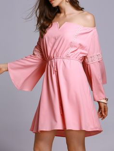 Pink Off The Shoulder 3/4 Sleeve A Line Dress