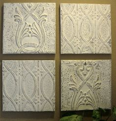 ALL 4 Antique Ceiling Tin Tiles Circa 1910 by DriveInService, $100.00