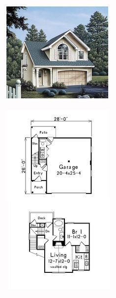 Garage Apartment Plan 86903   Dimensions: 28'x26', Bedrooms: 1, Bathrooms: 1. #carriagehouse
