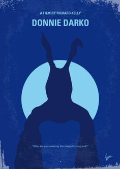 No295 My Donnie Darko minimal movie poster  A troubled teenager is plagued by visions of a large bunny rabbit that manipulates him to commit a series of crimes, after narrowly escaping a bizarre accident.  Stars: Jake Gyllenhaal, Jena Malone, Mary McDonnell  Donnie, Darko, visions,large, bunny, rabbit, Jake, Gyllenhaal, supernatural, plane, crash,  engine,