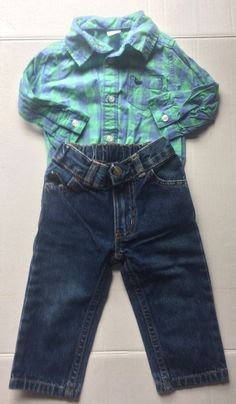 Carters Boys 9 Month 2 Piece Outfit Ls Shirt Jeans Winter #Carters #Casual