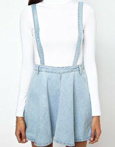 Glamorous Denim Dungaree Skirt on Wanelo