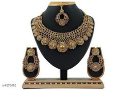 Jewellery Set Trendy Stylish Alloy Women's Jewellery Set  Base Metal: Alloy Plating: Gold Plated Stone Type: American Diamond Sizing: Adjustable Type: Necklace Earrings Maangtika Multipack: 1 Country of Origin: India Sizes Available: Free Size   Catalog Rating: ★4.3 (448)  Catalog Name: Shimmering Chunky Jewellery Sets CatalogID_629151 C77-SC1093 Code: 124-4378485-0801