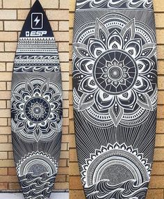 from @halcyon_lines - F I N I S H E D • Matte black with white lines. All hand drawn using posca pens, over 10 hours of work in total. This board is being shipped from Byron Bay Australia over to Texas USA as an art piece. • World wide shipping available Because lifes too short to have a boring board See previous post for a timelapse video of the artwork being made #surfboardart #boardart #byron #byronbay #texas #unitedstates #australianart #posca #poscapens #poscaart #mandala #manda...