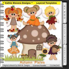 Autumn Pixies Layered Templates - CU