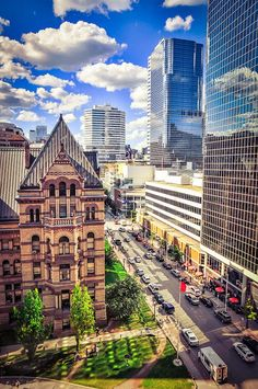 Photo was taken from the Arcadian Loft over looking the Old City Hall of Toronto and the Eaton Centre. Places Around The World, Oh The Places You'll Go, Around The Worlds, Montreal, Vancouver, Canada Pictures, Nostalgia, Downtown Toronto, Art Toronto