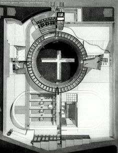 Rem Koolhaas, Renovation study of a Panoptical Prison, Arnhem, the Netherlands, 1979-1981,Plan aerial view