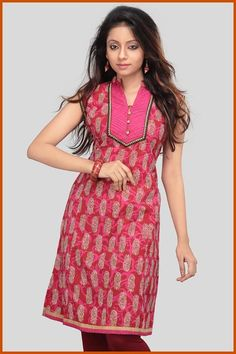 Deep Maroon and Pink Cotton Readymade Kurta    Itemcode: TED29    Price: US $33.41    Click here to shop: http://www.utsavfashion.com/store/item.aspx?icode=ted29