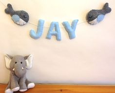 *Whale Felt Name Banner, Personalized Felt Name* A perfect addition to any room - home, children room or nursery decor! Also a great baby shower or birthday gift! https://www.etsy.com/shop/FluffedNStuffed
